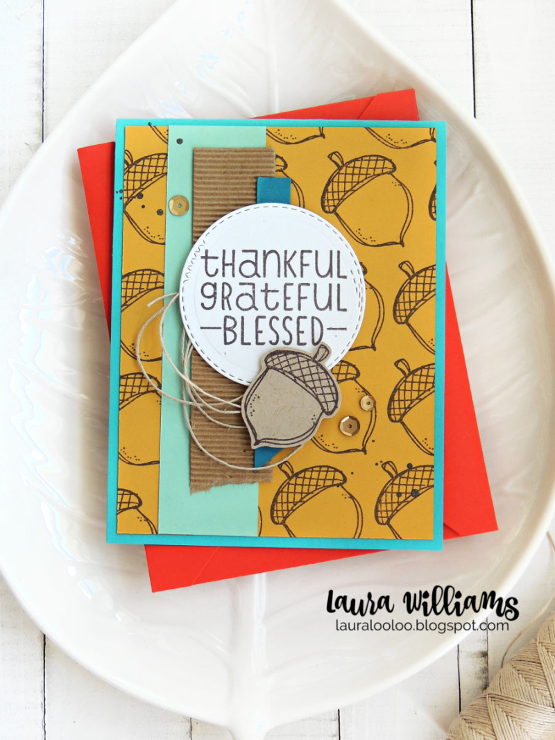 Laura Williams Impression Obsession Thankful Grateful Blessed Fall Acorn Card 2